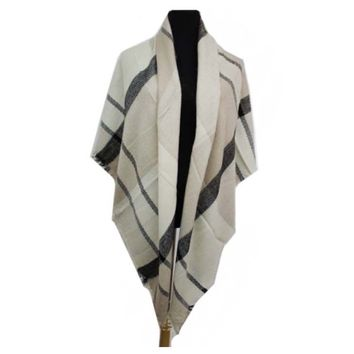 """Always My Style"" Multi Color Beige Blanket Scarf"
