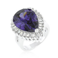 Cubic Zirconia Purple And Clear Cocktail Ring, size : 10