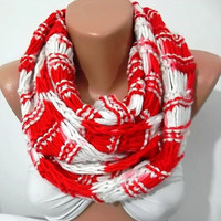 ON SALE Hand knitted scarf...Red - White..... Infinity Scarf Loop Scarf Circle Scarf ..