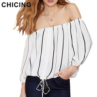 CHICING Women Striped Tops and Blouses 2016 Summer Sexy Off The Shoulder Slash Neck Lantern Sleeve Casual Chiffon Shirt B1603027