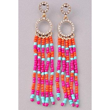 Fun Factor Multi Beaded Tassel Earrings