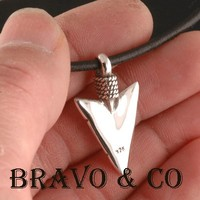 6P-072 Hallmark 925 Solid Sterling Silver Spear New Arrowhead Men Necklace