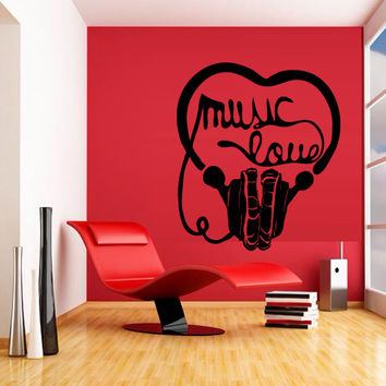 Wall decal decor decals sticker art vnyl design love inscription sound music headphones club bedroom play lounge head room (m1221)