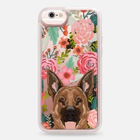 Casetify iPhone 6s Glitter case - German Shepherd florals cute flower cell phone case with German Shepherd transparent iphone6 case by Pet Friendly