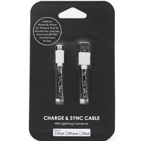 PacSun Sketched Cat iPhone 5 Charge & Sync Cable - Womens Scarves - Black - One