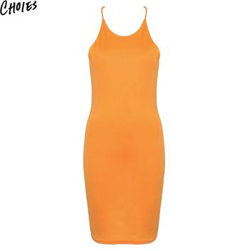 Women Orange Cowl Back Cross Strap Halter Bodycon Slim Sexy Beach Midi Dress New Fashion Summer Sleeveless Plain Club Wear