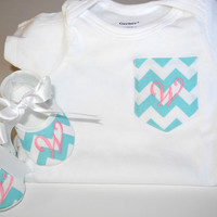 Chevron Pocket Tee  Monogrammed Baby Shoes  by KayLaneSisters