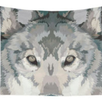 'Gray Wolf Illustration' Tote Bag by danellemichaud