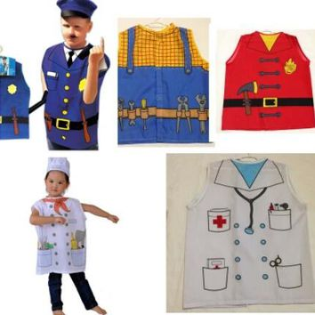 2016 Hot cosplay clothes performing the role professional chef clothing chirldren Police costume Fire clothing Doctor clothes