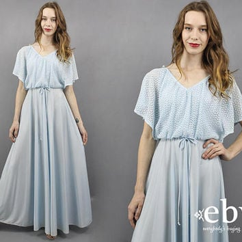1970s Maxi Dress 70s Maxi Dress Pale Blue Maxi Dress Evening Gown 70s Disco Dress Pastel Blue Dress 1970s Dress 70s Dress Draped Dress S M