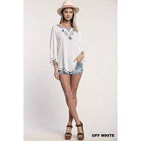 Embroidered Poncho Top, Off White. (Size M)