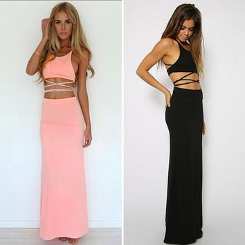 GZDL Two Piece Set Maxi Clothes Summer Sexy Women Female Ladies Bandage Tropical Casual Beach Party Crop Top&Long Skirt CL1714