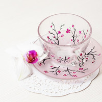 Pink Cherry Blossom Glass Cup and Saucer- Hand Painted Teacup Set- Mug Set -Pink Flowers - Wedding Gift - Painted Glasses