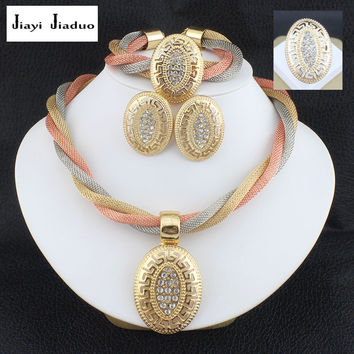 jiayijiaduo Jewelry sets wedding crystal  bridal african gold-color necklace earrings Bracelet ring dubai women sets jewelry