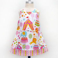 Circus Is Coming To Town Jumper Dress - Circus Birthday - Circus Print - Circus Theme Party Dress - Toddler Girls Jumper Dress