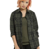 Olive & Black Plaid Girls Woven