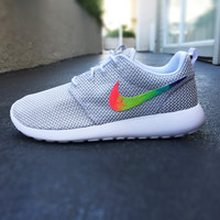 Womens Custom Nike Roshe Run sneakers, cute design, tie dye, womens custom sneakers, Customized sneakers, Fashionable design