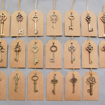 Free Shipping Mixed 40pcs Antique Bronze Vintage Keys& 40pcs Kraft Tags Wedding Skeleton Keys Charm old Fahshion keys for sale