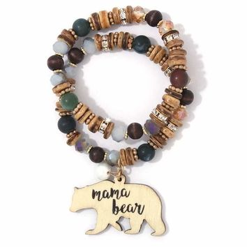 Mama Bear Charm Beaded Stretch Bracelet Set