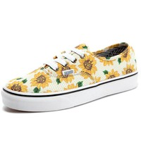Vans Casual Classic Shoes Retro low tops Shoes sunflower yellow print