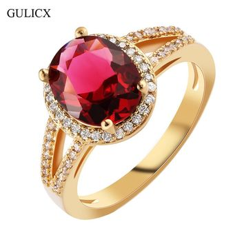 GULICX Fashion Hollow Halo Finger Band Gold-color Ring for Women Oval Garnet Red Crystal red CZ Engagement Jewelry R354