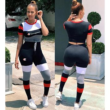 Champion Fashionable Women Personality Stitching Short Sleeve Top Pants Trousers Set Two-Piece Sportswear Black/Red