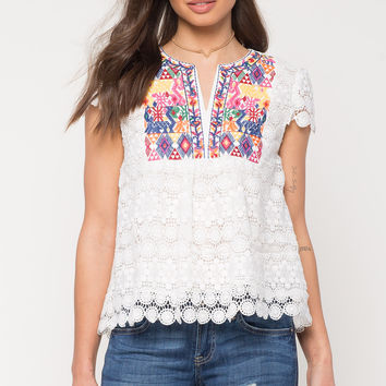 Pop Embroidered Crochet Tee