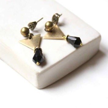 Triangle Stud Earrings with Black Glass Bead - Geometric and Minimalist Jewelry