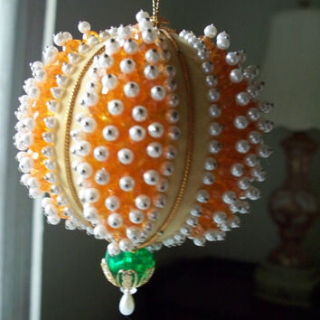 Vintage Christmas Ornament adorned with Yellow Beads and Pearls Handmade