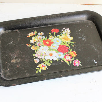 Vintage 1950s or 1960s Black Painted Metal Tole Tray
