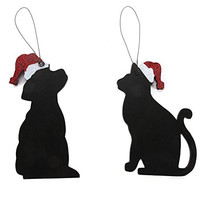 "Darice Christmas Set of Cat Dog Ornaments Black 7.25"" Wood 2 Pack"