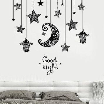 Vinyl decal wall quote good night moon stars candle lantern ligh