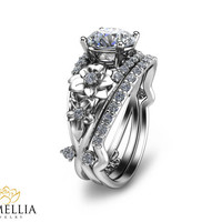 Floral Diamond Engagement Ring Set Unique Bridal Set 14K White Gold 1ct Diamond Ring Wedding Set