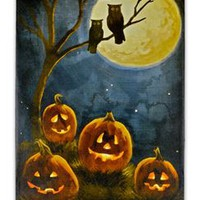 Pumpkin & Owl LED Picture - 338198 | trendyhalloween.com