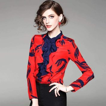 100% Silk Blouse Women Lightweight Fabric Printed Patch Ruffles O Neck Long Sleeves Formal Tops Elegant Style New Fashion 2018