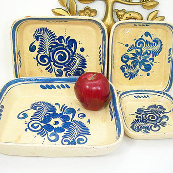 Vintage Mexico Pottery Casserole Set - 4 Nesting Red Clay Dishes - Cream with Blue Handpainted Floral Design - Southwestern Home Decor