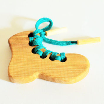 Wood Lacing Toy Little Shoe Montessori Threading toy Wooden Toys for toddlers Fine Motor Skills Handmade Organic Gift idea Learning toy