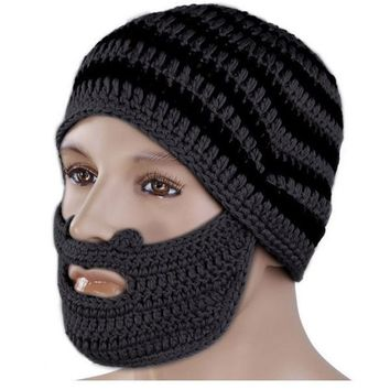 2016 Mens Fashion Color Cool Punk Warm Winter Knit Crochet Beard Beanie Mustache Face Mask Ski Snow Warmer Hat Cap