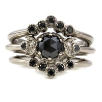 Gothic Black Diamond Moon Phase Engagement Ring Set - Palladium White Gold Modern Victorian Wedding Stacking Rings