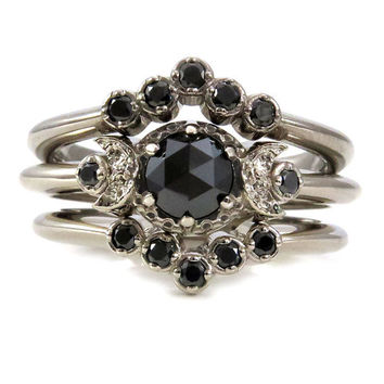 Gothic Black Diamond Moon Phase Engagement Ring Set - Palladium 0ac9bf72dc