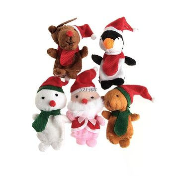 Christmas Finger Puppets Santa Claus Snowman Deer Bear Penguin Plush Toys Dolls 5pcs