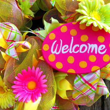 Spring Wreath with Yellow and Pink Striped Mesh, Pink, Green, & Yellow Gerbera Daisies, Welcome Plaque, and Assorted Ribbons