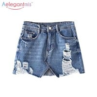 Aelegantmis Short Jeans Ripped Skirt Women Blue Denim Skirt High Waist Mini Jean Skirt With Holes Asymmetric A Line Saia Jeans