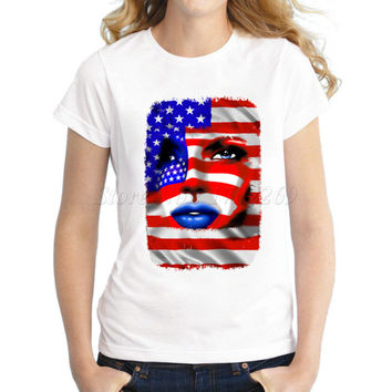 2017 Hot sale Women's USA tribal fashion design America flag cat Printed lady's T shirt popular novelty girl's tee