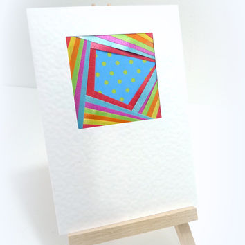 Handmade card Blank greetings card Multicolour Funfair Upcycled Any occasion Birthday Congratulations 4th July Good Luck UK Circus Polkadots