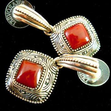 Vintage Sterling Silver Earrings Barse Red Agate Dangle 925