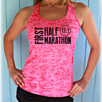 Womens First Half Marathon Running Tank Top. 13 Point One Race Training Burnout Tank Top.