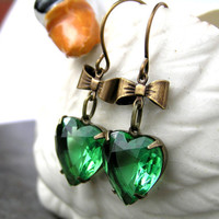 Emerald Green Crystal Old Hollywood Style by lovelandshadetree