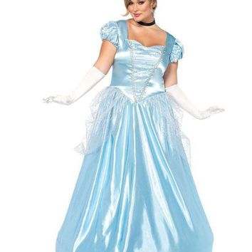 ESBI7E 3PC.Classic Cinderella,long satin ball gown,choker,headband in BLUE