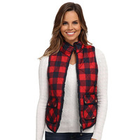 Women Red Plaid Zipper Vest